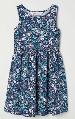 H/&M Girls Navy Red Flowers Pretty Summer Cotton Dress Age 6 7 8 9 10 Years BNWT