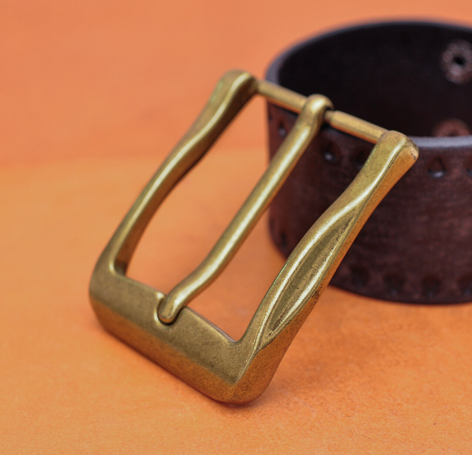 40mm Cool Retro Antique Brass Casual Men Single Pin Prong Leather Belt Buckle