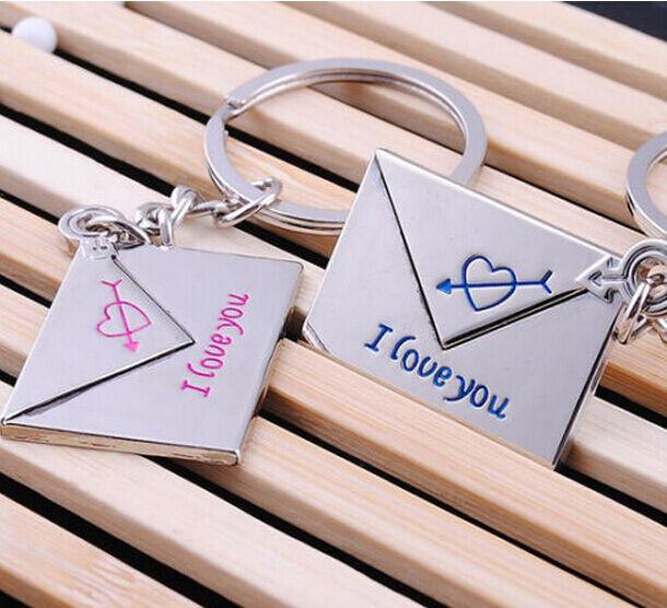 Fashion 1 Pair 2pcs Loving Envelope Metal Keychain Keyring Keyfob Key Ring Gift