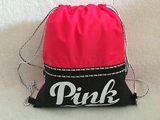 VICTORIA SECRET PINK DRAWSTRING BAG /CAMPUS BACKPACK /TOTE NEW NEON HOT PINK/BK