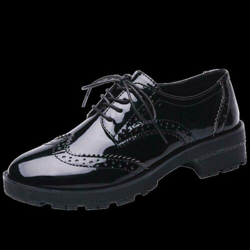 Details about  /Brogue Womens Shiny Lace Up British wingtip carved Casual preppy Shoes Oxfords