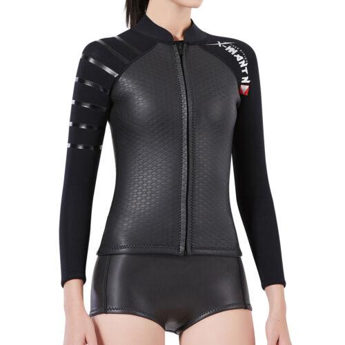 3mm Neoprene Women Wetsuits Top Diving Suit Jacket Long Sleeve Dive Suit Top