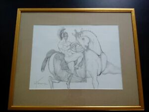 Signed grand drawing petre velicu naked knight curiosa nude knight perfect condition