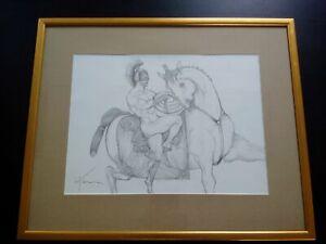 Signé grand dessin Petre VELICU chevalier nu curiosa nude knight état parfait