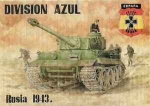 WW2-RATION-CURRENCY-SHEET-w-NAZI-PANZER-TANK-RUSSIA-1943-DIVISION-AZUL-8-x-12