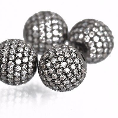 2 Silver Micro Pave/' Round Beads w// Cubic Zirconia Crystals 6mm bme0434