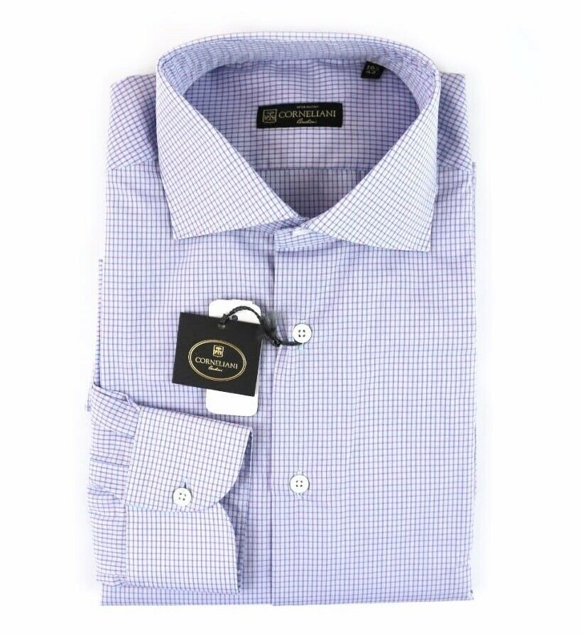 NWT CORNELIANI bluee Red Tattersall Plaid Spread Collar Shirt 42 L 16 1 2