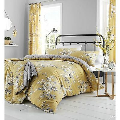 Catherine Lansfield Canterbury Ochre/Grey Yellow Floral  Duvet Cover Bedding Set