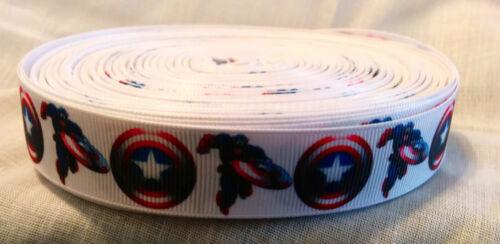 "7//8/"" Captain America Gros-Grain Ruban artisanat ruban scrapbooking environ 4.57 m 5 Yd"
