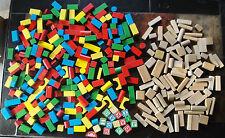 Huge Lot of 321 pcs 16 lbs. Colored/Painted/Natural Wood Blocks/Bricks Stacking