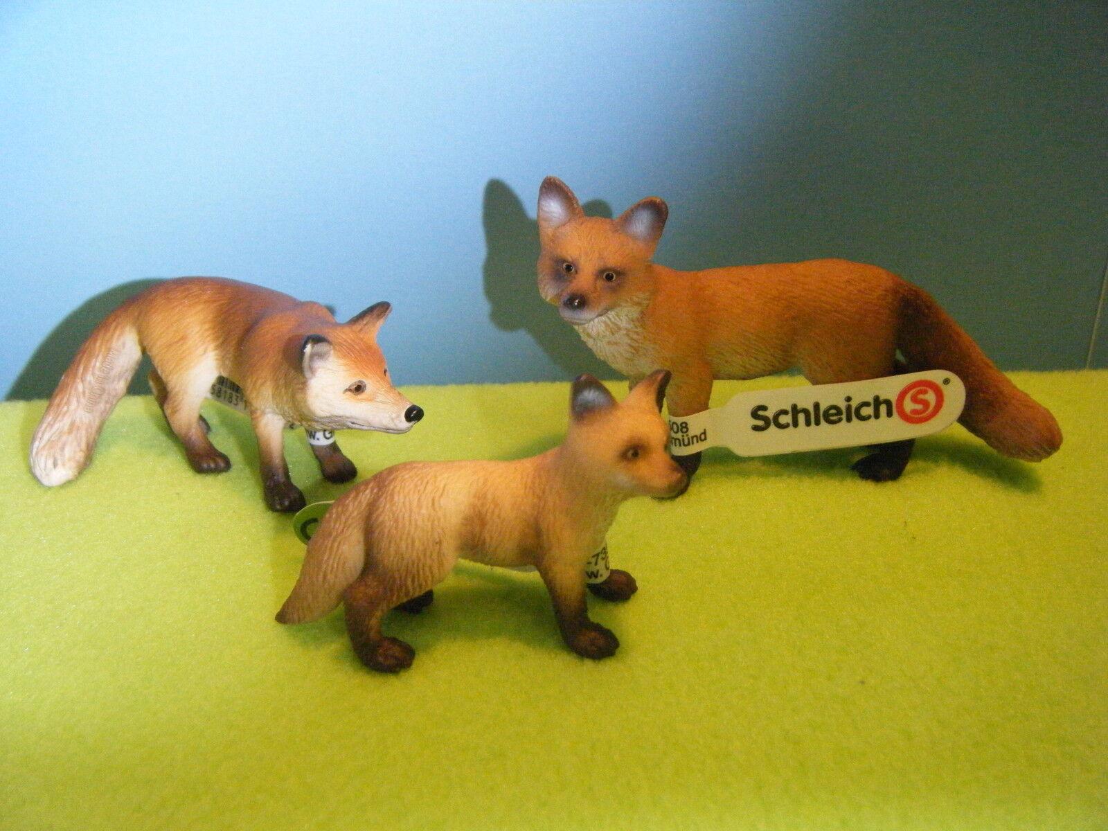 Schleich Zorro rojo Fox y Fox Kit  Nuevo  en plástico de fábrica