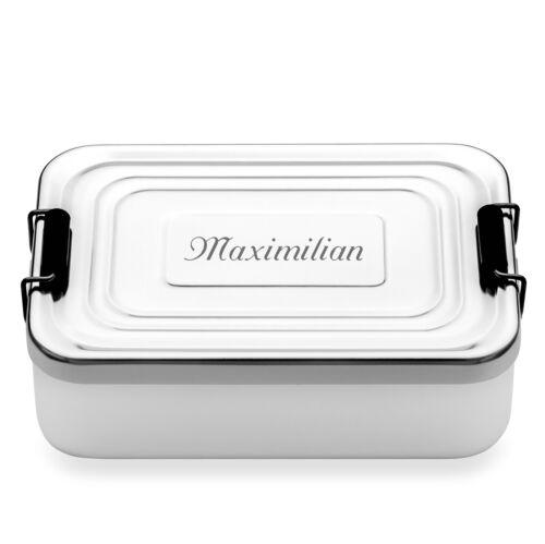 Rominox Lunchbox mit Gravur Brotdose Aluminium poliert rechteckig 17x11,5x6 cm