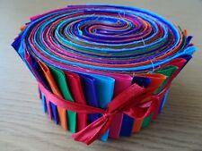JELLY ROLL STRIPS 100% COTTON PATCHWORK FABRIC BRIGHT PLAIN SOLID 40 PIECES