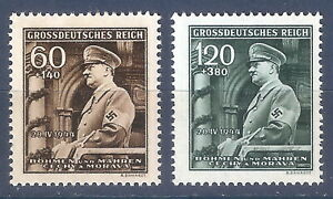 DR-Nazi-3rd-Reich-Rare-WW2-Stamp-Hitler-in-Car-Salutes-Military-Parade-in-Prague