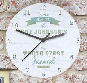 Image Is Loading Personalised Time Spent Shabby Chic Large Wooden Clock