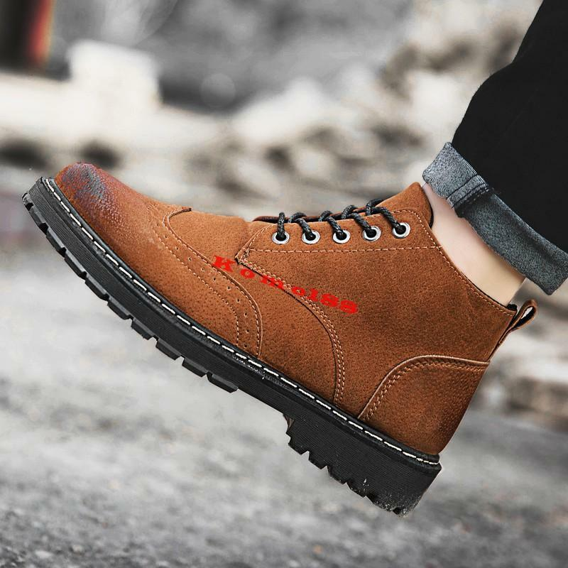 Retro mens block Heel round toe lace up suede Casual brogue Carving Ankle Boot