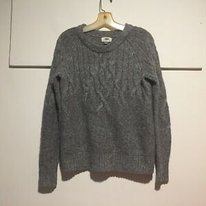 Old-Navy-Women-039-s-Sweater-Small-Pullover-Cable-Knit-Long-Sleeves-Gray