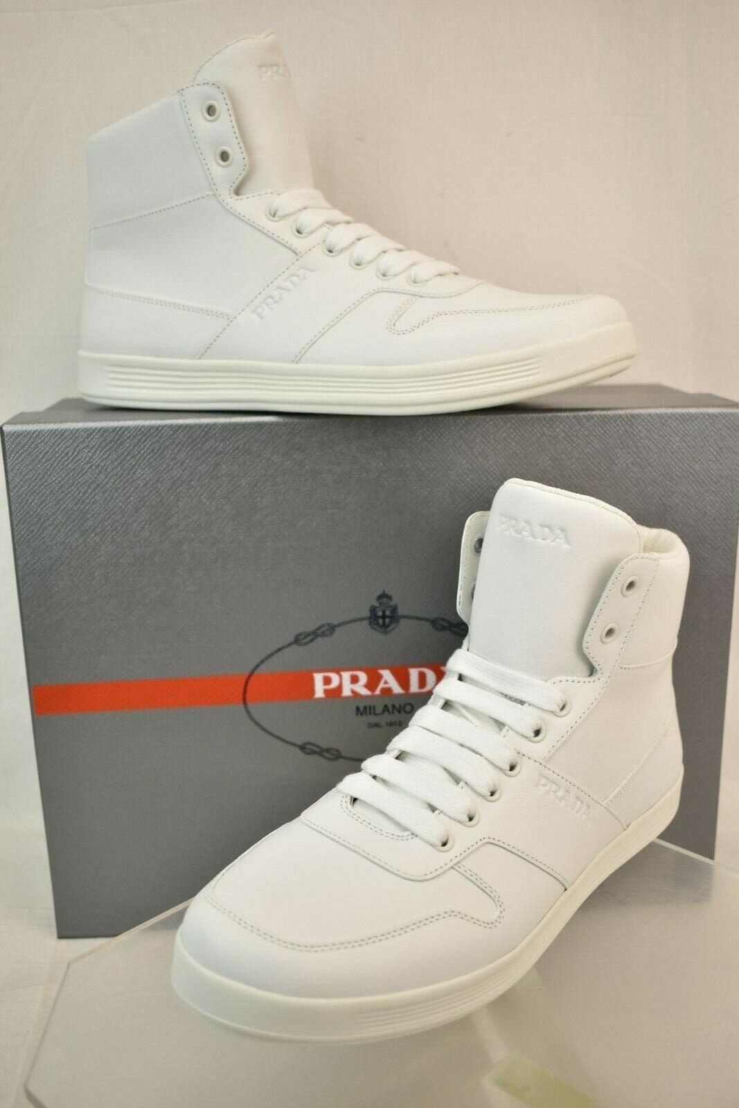 NIB PRADA MEN WHITE LEATHER LACE UP LETTERING LOGO HIGH TOP ZIP SNEAKERS 8 US 9