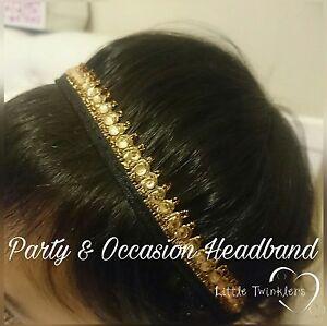 Baby-Girl-Diamante-Headbands-New-Born-Toddler-Handmade-Accessories-Gold-Black