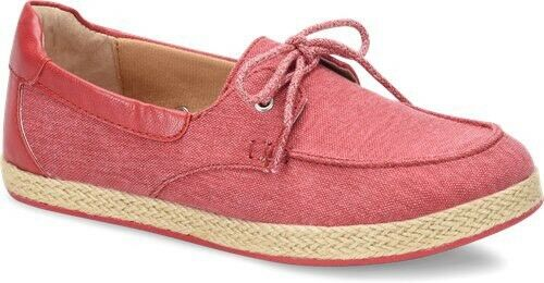 BOC Womens Bailey Canvas Top Sider Size 6M Lace Canvas shoes Sneaker Red
