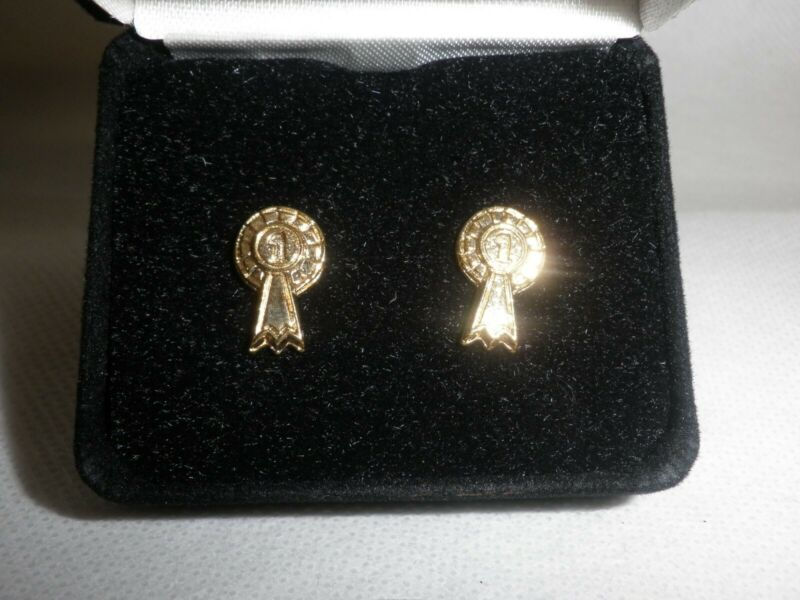 '1st Rosette' Gold Coloured Stud Earrings In Gift Box