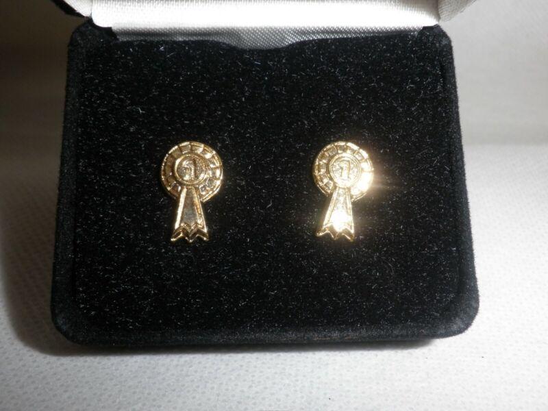 '1st Rosette' Gold Coloured Stud Earrings In Gift Box