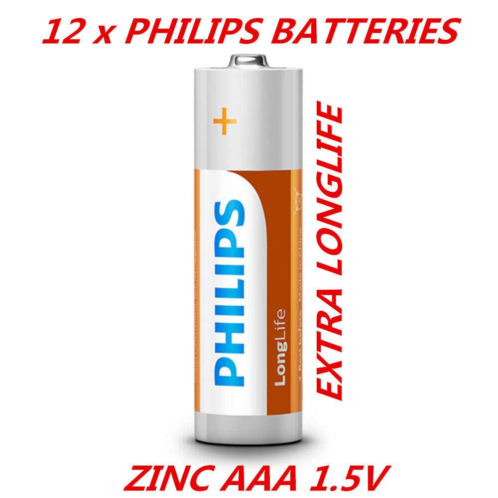 12 x Genuine Philips 1.5V Zinc AAA Battery Super Extra Long Lift Power Batteries