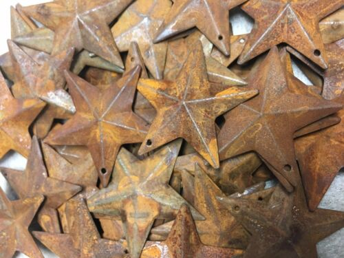 """DLCC~50 PCS 1.75/"""" PRIMITIVE RUSTIC 3D STARS Rust tin Metal"""