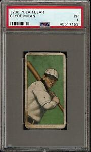 Rare 1909-11 T206 Clyde Milan Polar Bear Back Washington PSA 1