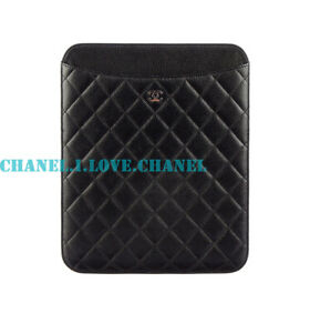 974c607e9eb186 Image is loading AUTHENTIC-CHANEL-BLACK-QUILTED-LEATHER-CC-CHARM-IPAD-