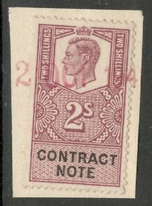 George VI  2s Mauve  Contract Note  Used  On Paper - <span itemprop=availableAtOrFrom>Washington, Tyne and Wear, United Kingdom</span> - George VI  2s Mauve  Contract Note  Used  On Paper - Washington, Tyne and Wear, United Kingdom
