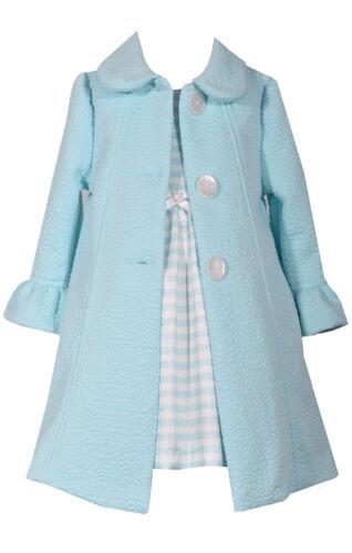 Bonnie Jean Girls Spring Easter Aqua Texture Coat /& Dress Set 4 5 6 6X New
