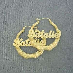 ba79b3fb7 Image is loading 10K-Yellow-Gold-Personalized-Name-Round-Bamboo-Hollow-