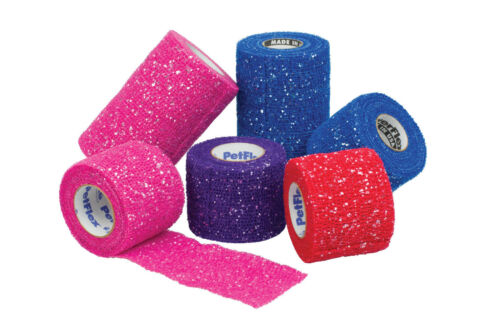 10 x PetFlex Haftbandage Glitzer schwarz, blau, rot, violett, pink 5 cm breit