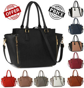 0d51318ba65d Image is loading Womens-Designer-Handbags-Ladies-Faux-Leather-Stylish-Tote-