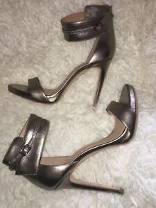 68e6670870b3 Image is loading HALSTON-HERITAGE-Ellen-Platform-Stiletto-Sandals-Metallic- Leather-