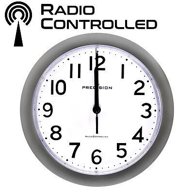 PRECISION SILVER RADIO CONTROLLED WALL CLOCK PREC0060 23CM DIAMETER ANALOGUE NEW