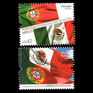Portugal-2014-Mexico-Portugal-Friendship-Flags-National-Emblems-Sc-3605-6MNH