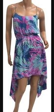 BCBG MaxAzria Michelle Asymmetric Dress Sz XS Pink Purple Floral Pattern Gold