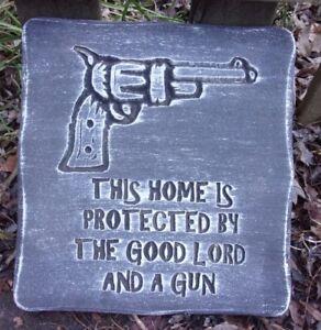"""Gun plaque plastic mold mould plaster concrete casting 12/"""" x 11/"""" x 3//4/"""" thick"""