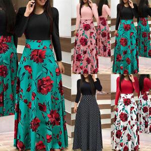 ce9a12174fa5 Women Long Sleeve Floral Boho Ladies Party Bodycon Maxi Dress Beach ...