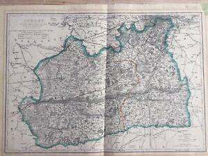 C1860-engraved-map-of-Surrey-South-London-by-Davies-with-original-hand-colour