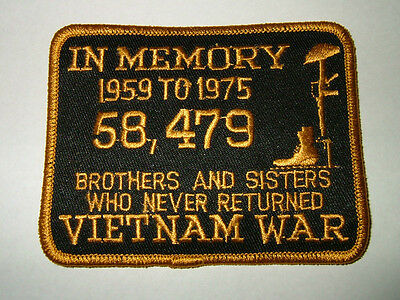 "Patch  ""IN MEMORY - VIETNAM WAR - 1959-1975"" embroidered patch,  # FLB1400"