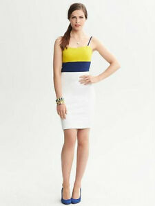 Brand-New-Banana-Republic-Colorblock-Ponte-Dress-Color-White-Green-Navy