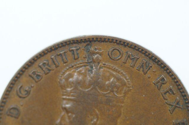 1933 Half Penny Metal Peel Variety in Fine Condition