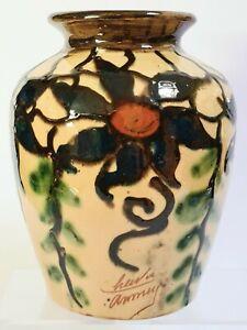 Vase en poterie vernissée de Savoie signée CHARVIER ( Jeanne ) ANNECY 20ème