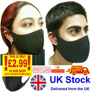 Face Mask Reusable Washable Masks Protective Covering Mouth Black Lot Uk Ebay