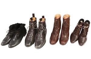 Vintage-Ladies-Lace-Up-Shoes-Boots-Leather-Job-Lot-Wholesale-x10-Pairs-Lot486