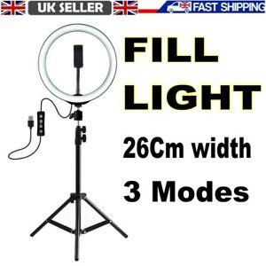 Fill Light Ring Light Tripod Stand Cell Phone Holder USB 3 Modes LED Light Phone