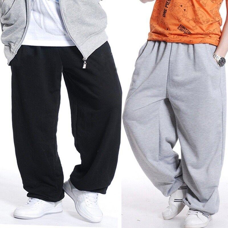 Men Loose Fit Sweatpants Hip Hop Dance Pants Sports Jogger Baggy Trousers Casual